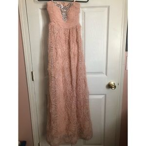 Blush pink long prom dress
